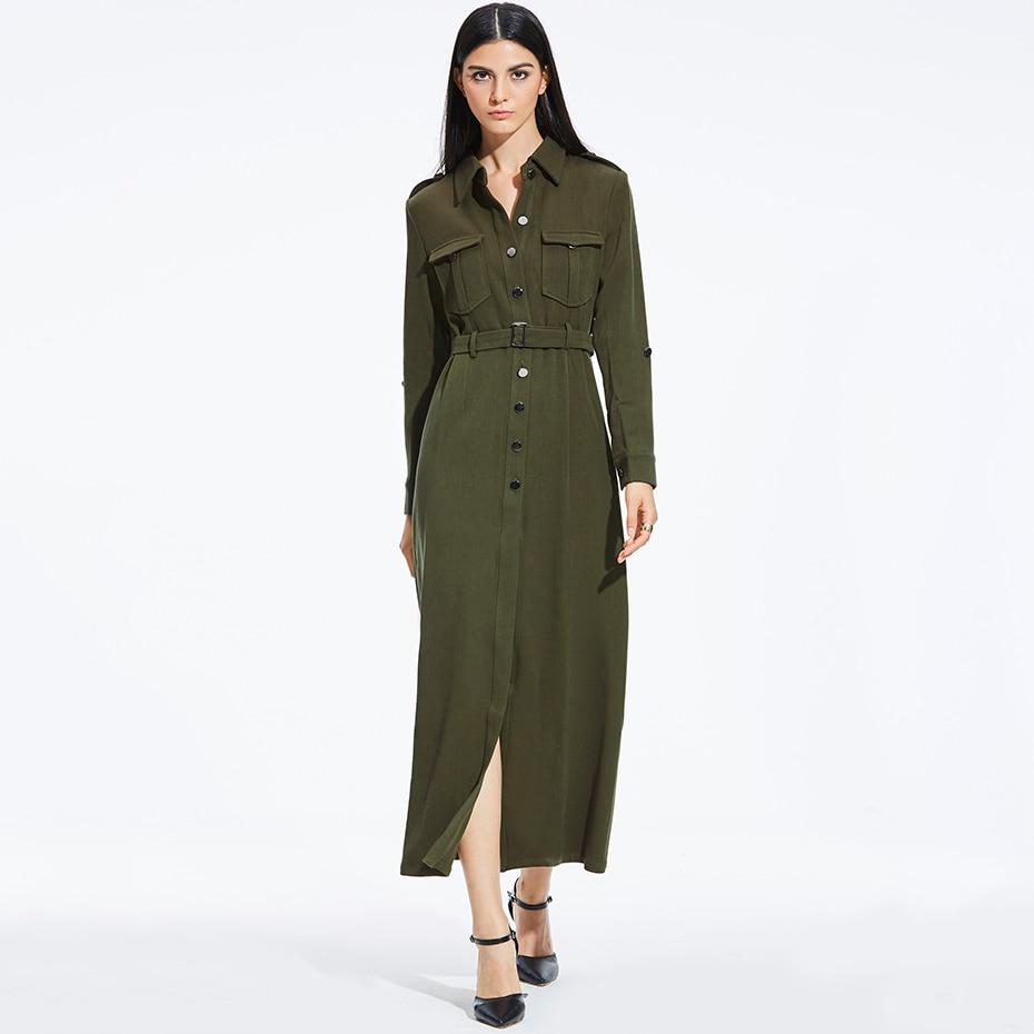 Women Shirt Long Dress Long Sleeve Army Green Cool Single-breasted Belt Dress Female Turn-down Collar Lapel Elegant Maxi Dress