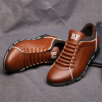 New Leather Flat Men Casual Shoes Lace Up Summer Black Loafers Basic Comfort Walking Oxford Shoes