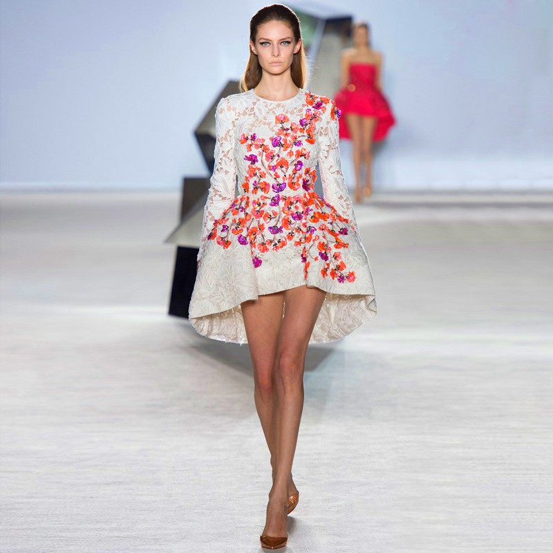 Runway-Fashion-Ivory-Lace-Long-Sleeve-Asymmetrical-High-Low-Short-Prom-Dresses-Celebrity-Party-Dress-vestido