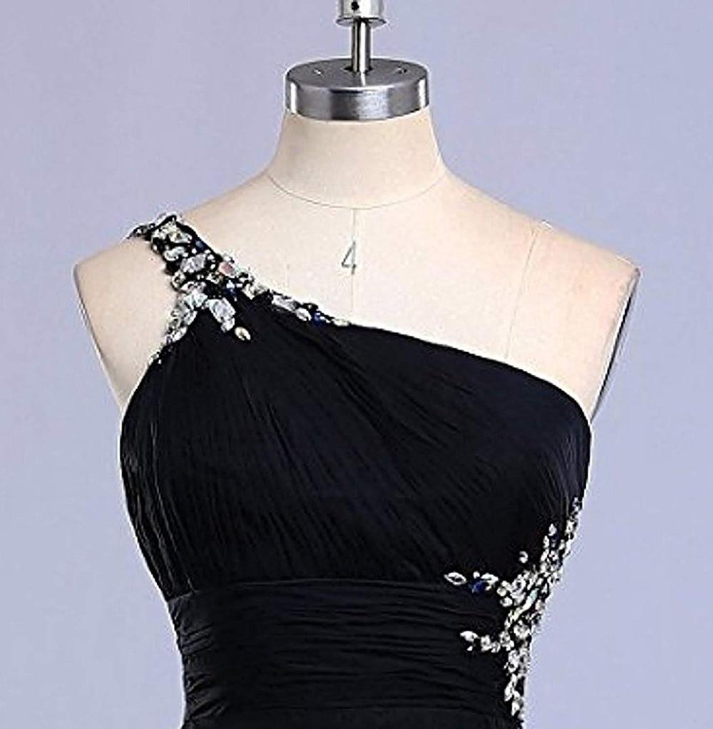 JaneVini mode 2019 haut bas dégradé en mousseline de soie longue robes de demoiselle d'honneur une épaule cristal perlé dos nu robes de soirée formelles - 5