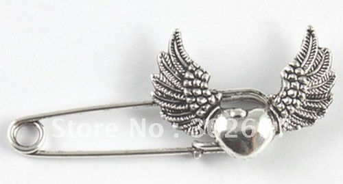 10PCS Tibetan silver heart wing Safety Pin Brooch A15546