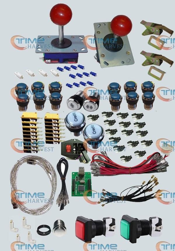 Arcade Teile Bundles Kit Mit langem Schaft Joystick Chrom Beleuchtete LED Tasten & 2 Spieler USB zu Jamma Build Up Arcade Schrank