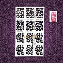 1PC Sexy Leopard Print Pattern Nail Art Sticker Stencils Hollow Template Guide Manicure Tool Tips GWJ220 Henna Flower Nail Foils