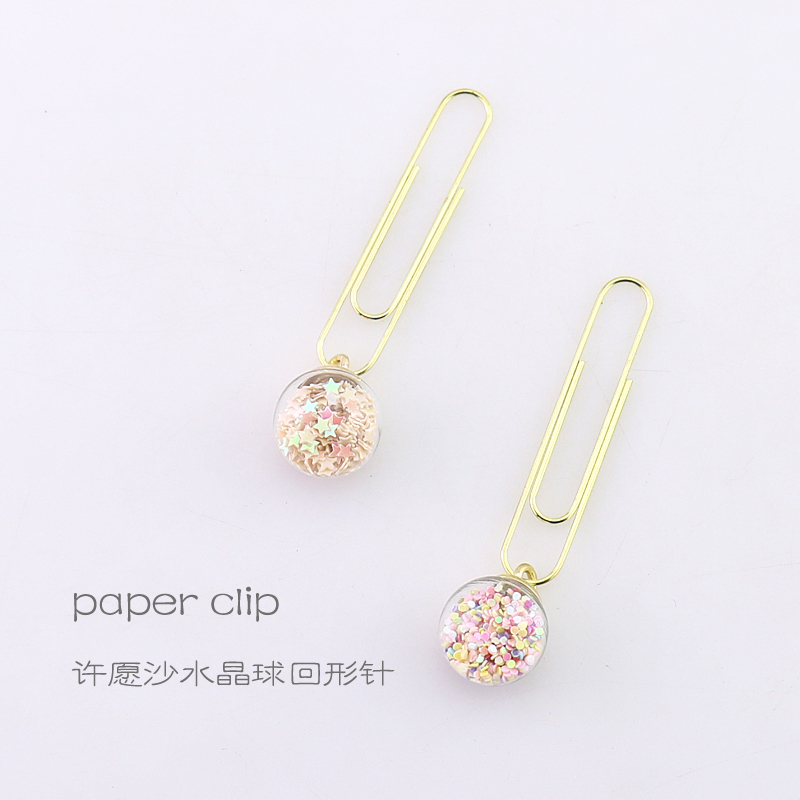 TUTU 5pcs/box Glass ball Paper Clips De Papel Notes DIY Bookmark Metal Binder Clips Fish Clips Notes Letter Paper Clips H0164 4