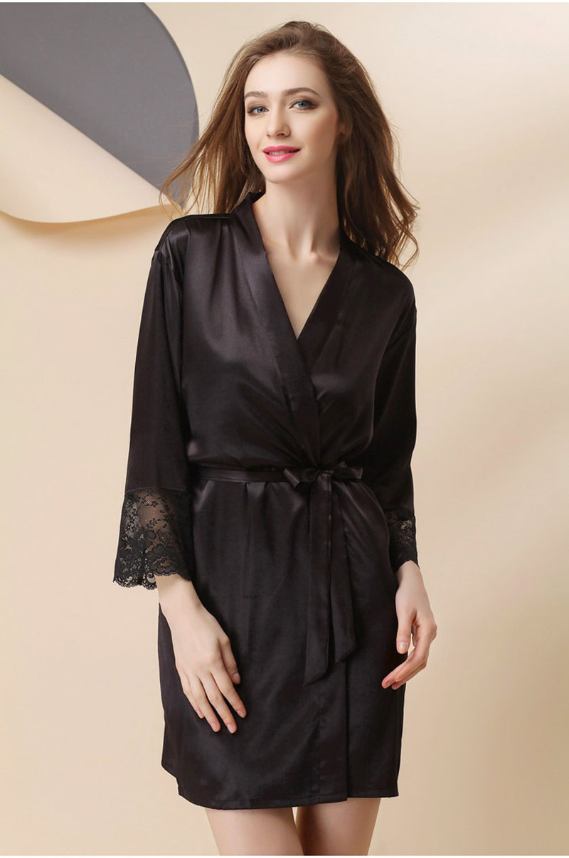 8914613790bc Bride Dressing Gown Robe Satin Bathrobe Perfect Lace Hot Sale Wedding Sexy  Large Robes Night For Women Size Sexy-in Robes from Underwear   Sleepwears  on ...