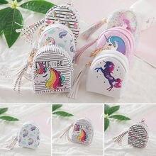 Брендовые новые кошельки с единорогом цифровая печать набор кистей с ручкой в форме единорога дизайн кисточкой Портмоне Сумочка для ключей, карточек подарок