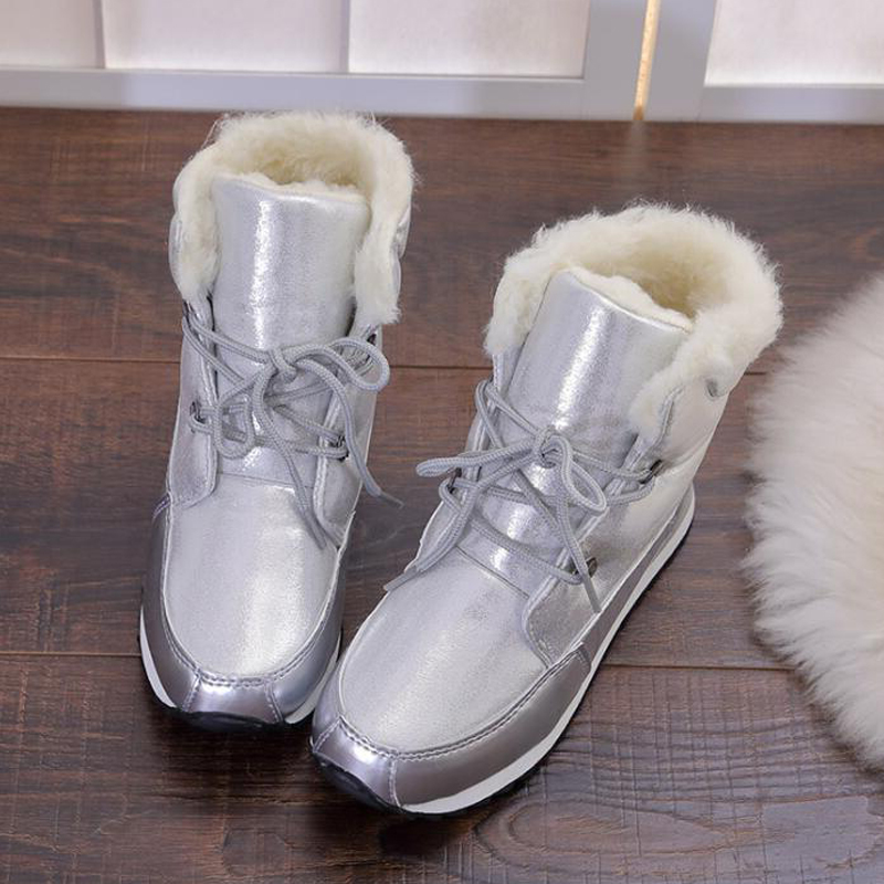 Women ankle boots 2017 new arrivals high quality slip-resistant thicken plush winter shoes lace-up snow boots size 36-41 цена