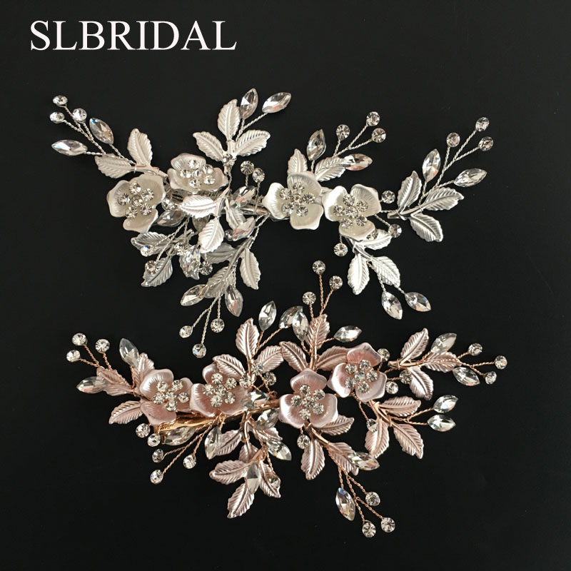 SLBRIDAL Alloy Rose Gold Austrian Crystals Rhinestones Flower Leaf Wedding Hair Clip Barrettes Bridal Headpiece Hair accessories недорго, оригинальная цена