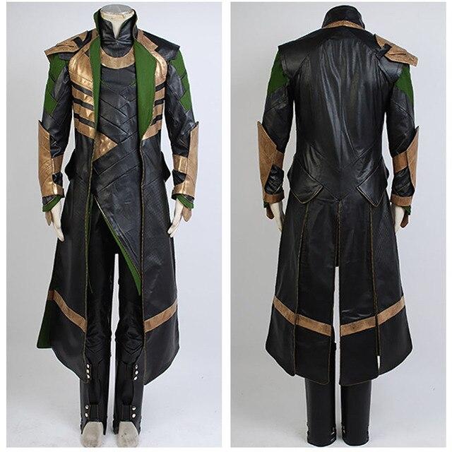 Thor 2 II The Dark World Loki Cosplay Battle Uniform Outfit Suit Attire  Costume Halloween Carnival