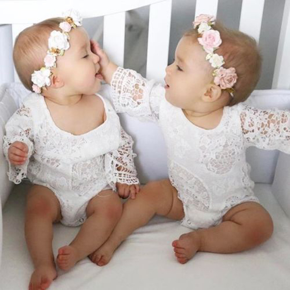 Summer Infant Baby Girl Floral   Romper   Lace Robes Bat Sleeves Kids Jumpsuit Children Clothes