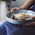 KINGLANG Japanischen Stil Retro Suppe Schüssel Keramik Große Familie Salat Schüssel Geschirr