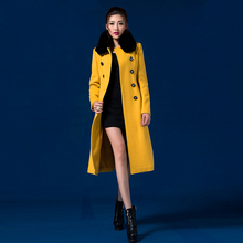2016 Autumn and Winter New Fashion S-4XL Plus Size Women's Outwear Medium-long Double Breasted Coat Elegant Wool Overcoat Yellow