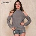 Simplee gola fora do ombro camisola de malha tricot pullover jumpers das mulheres moda Outono Inverno sexy camisola de grandes dimensões