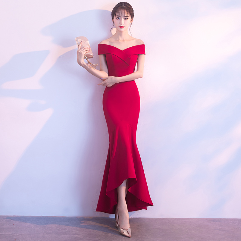 Party Evening Long Cheongsam Retro Sexy Slim Dress Marriage Gown Chinese Style Wedding Qipao Fashion Lady