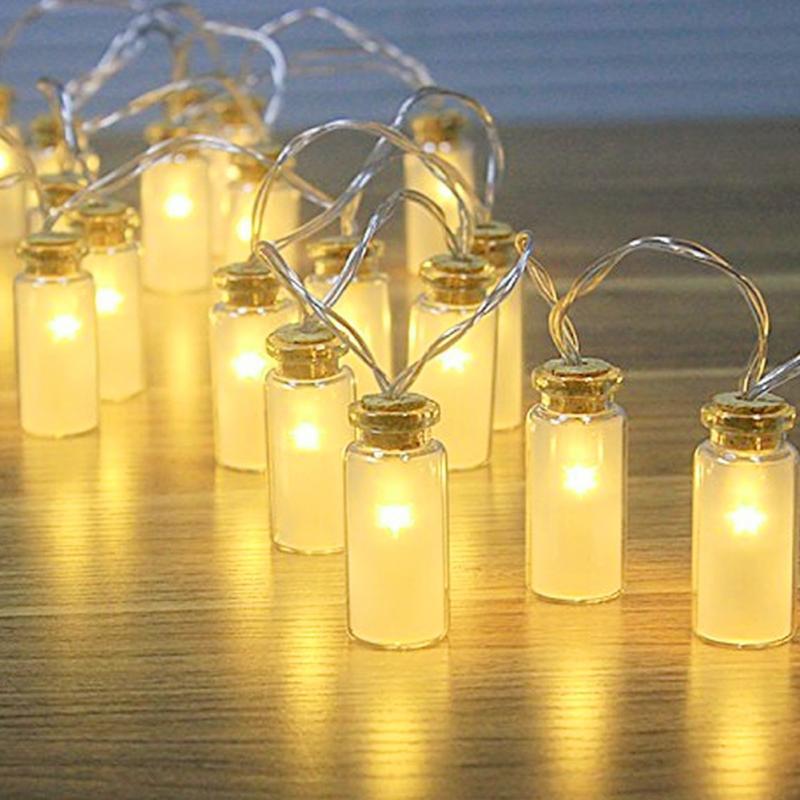 8 Modes Glass Jar LED Fairy Lights With 20ED Warm White Battery Box Retro Vase Bottle Light String Indoor Fairy Lights