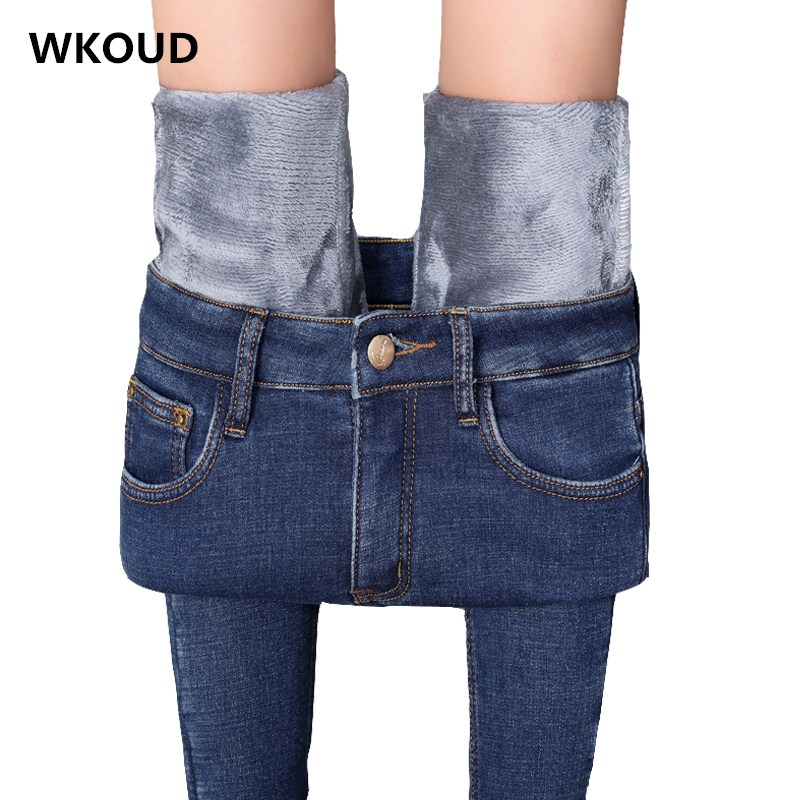 WKOUD Korean Jeans Women Plus Size Winter Warm Jeans Pants Blue Solid Skinny Fleeces Thick Pencil Pants Hot Denim Trousers P8625
