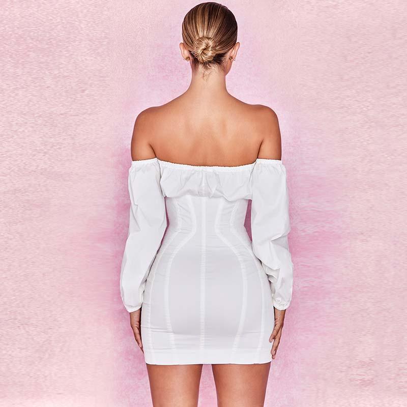 19 Summer Dress Women Fashion Solid Casual Regular Long Sleeve Sexy Club Slash neck Bangdage Sheath Women Dresses Vestidos 11
