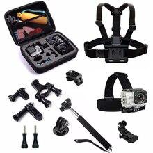 10 in 1 AMKOV AMK7000S Accessories Head Mount Strap Selfie Monopod Camera Case for Amkov soocoo Thieye i60 SJCAM SJ4000 Camera