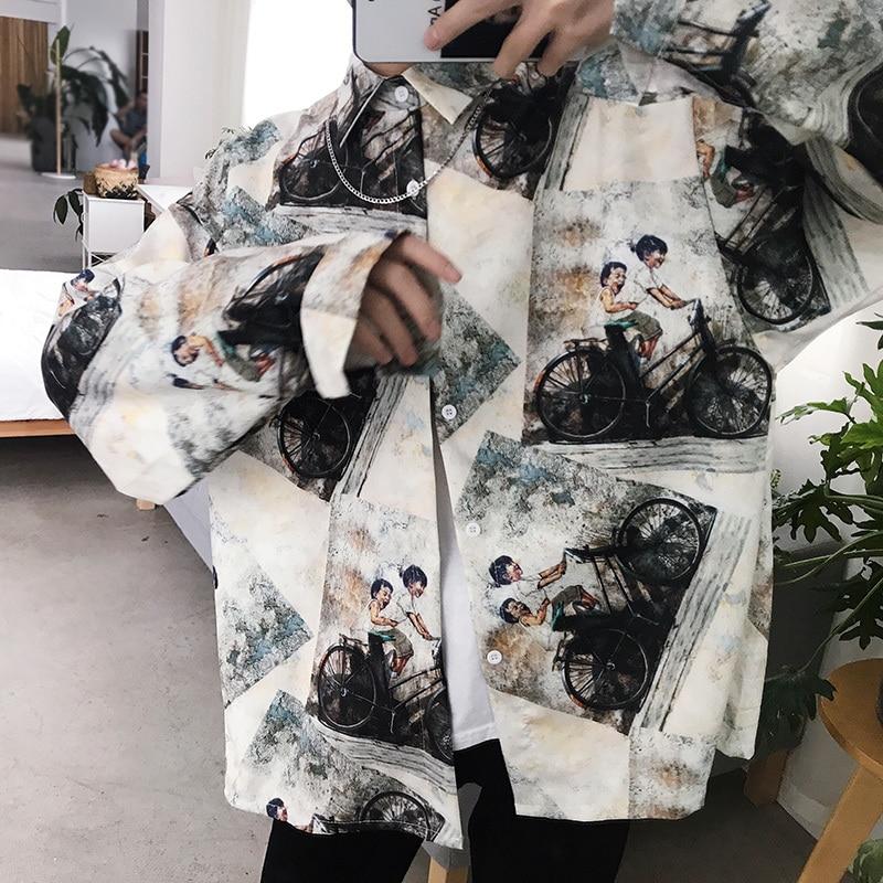 De Mode Nouvelle Impression Milky Vêtements Décontracté Hommes White Longues Robe Tendance Sauvage Masculine Manches À Chemise Printemps Homme Streetwear Lâche wIRqXq