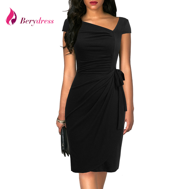 be2fa13da6c Berydress Vintage Asymmetrical 1950s Cap Sleeves Ruched Bodycon Women Dress  Stretchy Belted Cocktail Party Work Midi Black Dress
