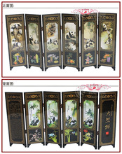 6Pieces Panda Folding Screen Chinese Traditional Lacquerwork Screen Decoration