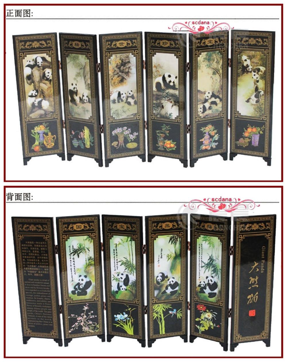 Paravento Legno Laccato.Us 27 35 24 Di Sconto 6 Pezzi Panda Paravento Cinese Tradizionale Laccato Decorazione Schermo In Pareti Divisorie E Paraventi Da Casa E Giardino Su
