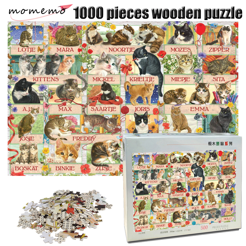 MOMEMO Cats Wooden Adult Jigsaw Puzzle 1000 Pieces Animal Pattern Puzzle Adult Children Puzzle Game Exercise Patience Toys Gifts