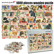 MOMEMO Cats Wooden Adult Jigsaw Puzzle 1000 Pieces Animal Pattern Children Game Exercise Patience Toys Gifts
