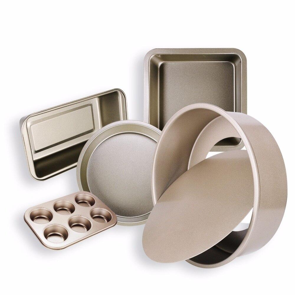 Nonstick Bakeware Set 5 Pieces Carbon Steel Metal Including Springform Pan Muffin Pans Square Baking Pan