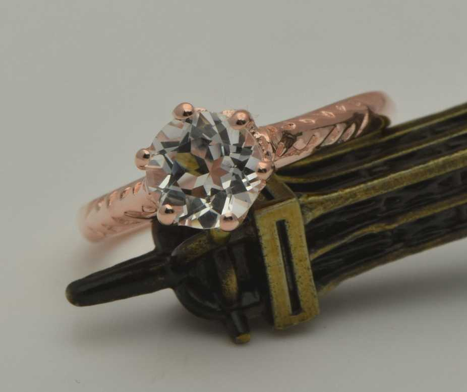 Szjinao Topacio blanco Natural Real 14 k oro rosa anillo de compromiso mujer hombre matrimonio regalo al por mayor joyería de oro anillo de boda
