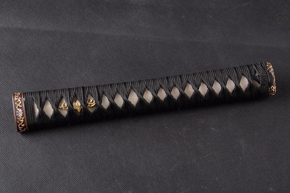 High Quality Exquisite Handle Tsuka for Japanese Sword Katana Black Silk Ito & Genuine Rayskin & High grade Gilt Fuchi Kashira