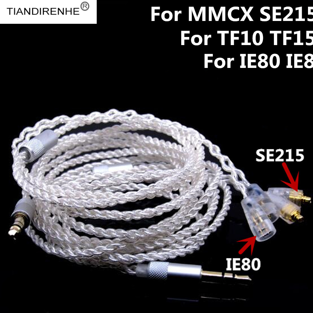 Tiandirenhe 1.25m 16 Shares 5N Silver Plated Headphone Line Wire Earphone Cables HIFI Headset Line for Shure SE215 for TF10