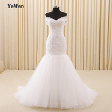 ca1b25552fbd3 Plus Size Yewen Lace Pearls Beading Mermaid White Ivory African Wedding  Gowns Robe Mariage Off Shoulder