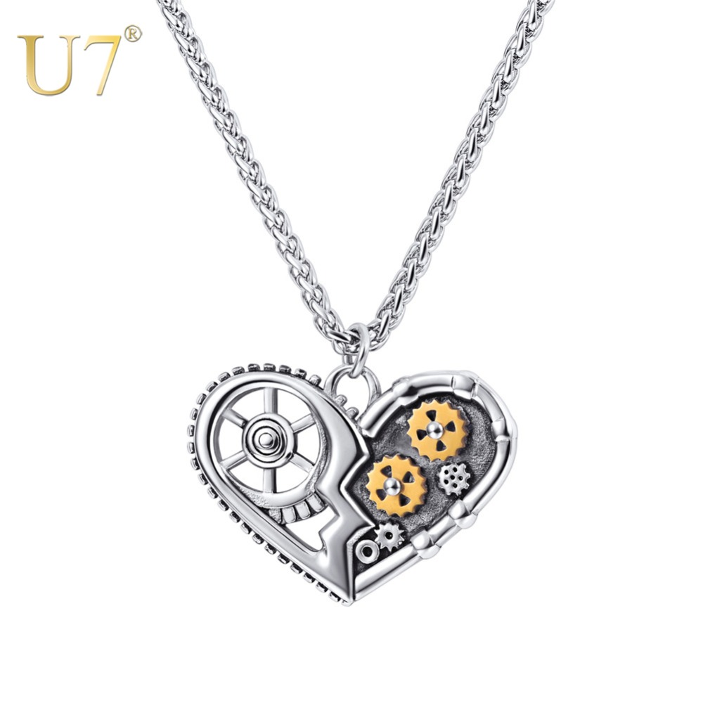 U7 Steampunk collares antiguo corazón hueco colgante mecánico patrones cadena collar de la joyería para hombres mujeres regalos P1176