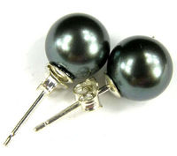 HOT SELL Hot sale new Style >>>>925 Silver Fashion Ear Stud black shell Pearl Stud Earrings Earring Top quality free shipping