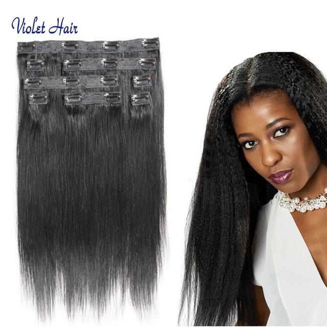 Grau 8A baratos luz Yaki grampo em extensões de cabelo humano, Indiano Yaki em linha reta cabelo 8 pct set No desdobramentos termina kbl africano americano