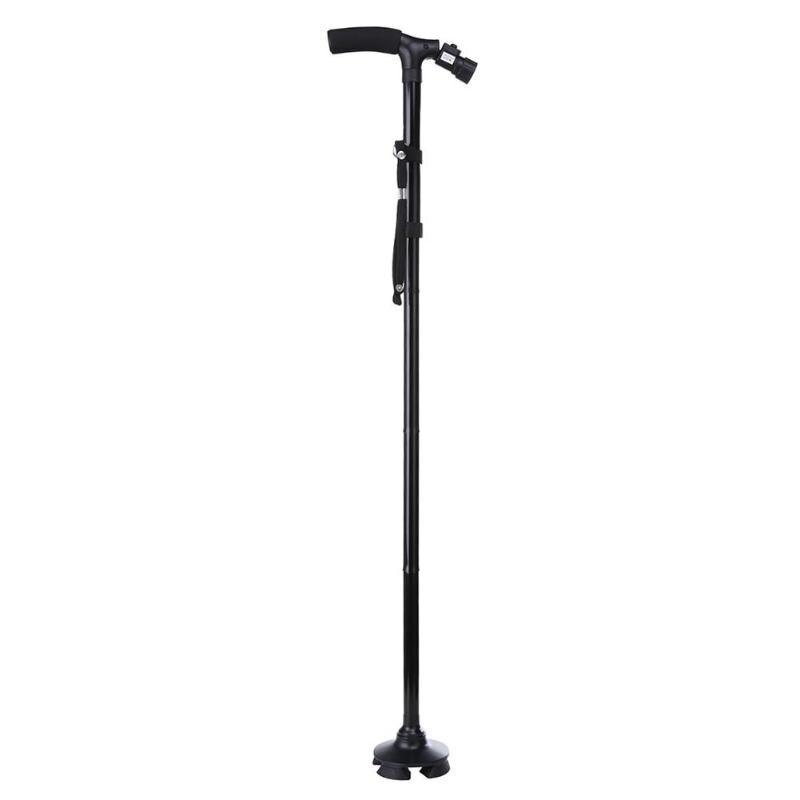 Aluminium LED Licht Walking Stick für Ältere T-griff Falten Teleskop Trekking Pole Outdoor Wandern Pole Walking Cane Werkzeuge