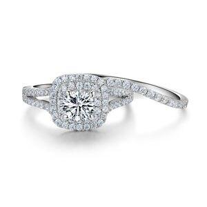 Image 4 - Newshe 2 Pcs Solide 925 Sterling Silber frauen Hochzeit Ring Sets Viktorianischen Stil Blau Seite Steine Klassische Schmuck Für frauen