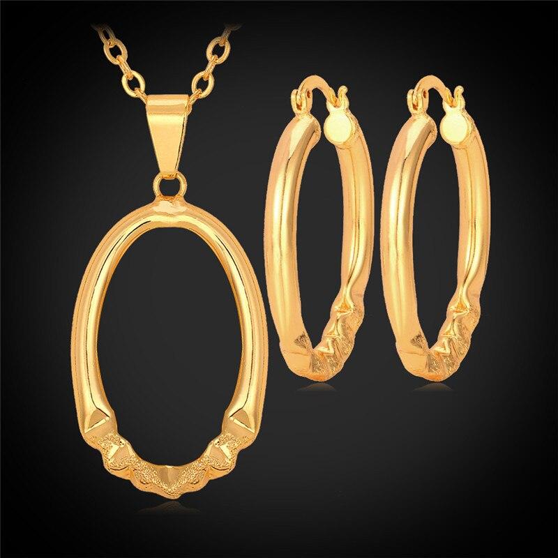 32cb2b66b178 Collar pendiente redondo Pendientes de aro set oro color MGC simple al por  mayor joyería de la manera para las mujeres pe438