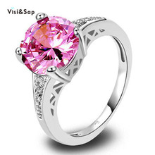 Visisap Cute Pink Round Stone Vintage jewelry Rings for women White Gold color engagement bijoux wedding
