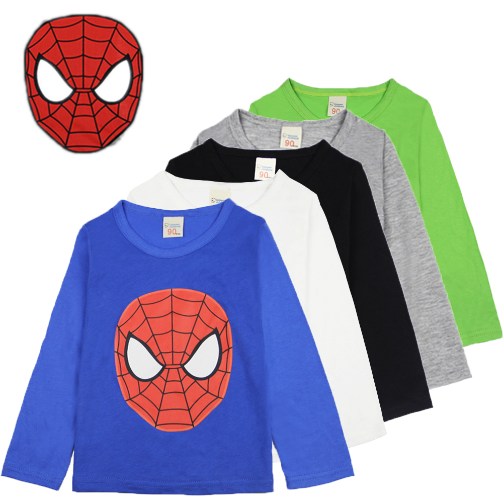 Children <font><b>Spiderman</b></font> <font><b>T-shirt</b></font> For Boys <font><b>Kids</b></font> T Shirt Boy Long Sleeve Cotton Tops Baby Underwear Toddler Tee Shirt <font><b>Black</b></font> <font><b>White</b></font> Blue