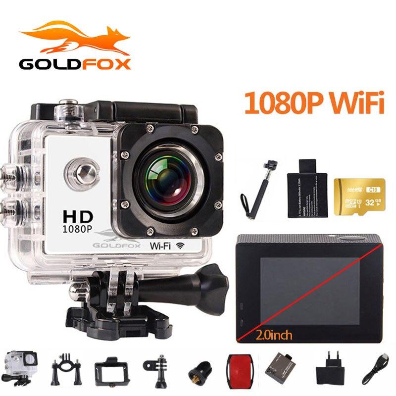 D'origine Goldfox 2.0 pouce 1080 p Full HD WiFi Camera Action 30 m Aller Étanche Pro Vélo Casque Cam Mini vidéo caméra