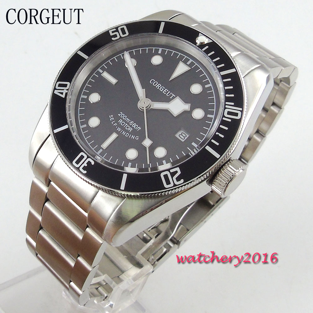 41mm Corgeut black dial sapphire glass most worthy collection date adjust luminous hands miyota automatic movement Men's watch 41mm corgeut dial luminous marks date sapphire glass steel miyota movement automatic mens watch