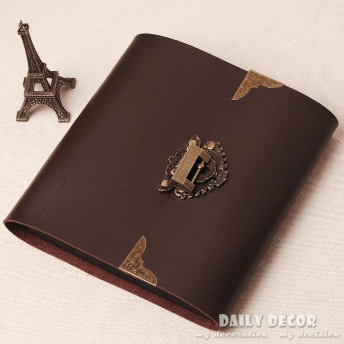 handmade brown pu leather photo album old photo album. Black Bedroom Furniture Sets. Home Design Ideas