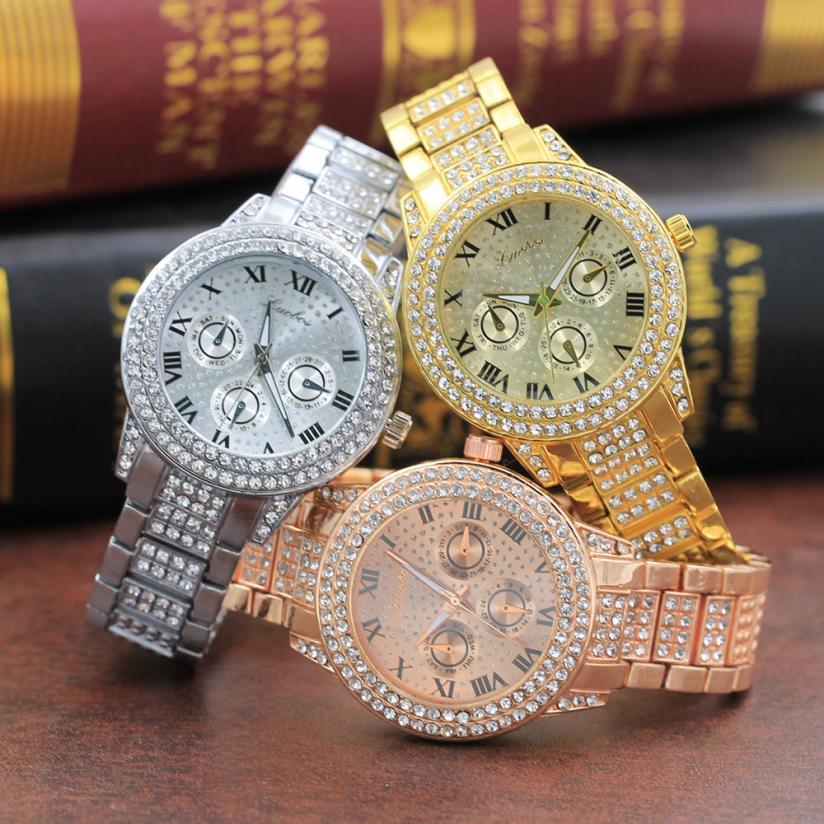 Splendid Women Watch Electronic Leisure Time Metal Quartz Bracelet Gold Crystal Diamond Gold Womens Wristwatch серьги коюз топаз серьги т142026393