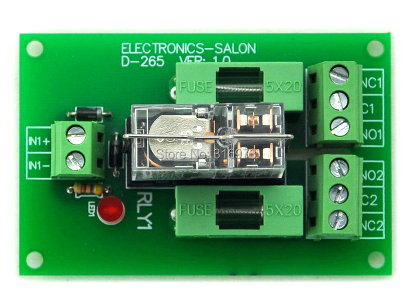 Fused DPDT 5A Power Relay Interface Module, G2R-2 12V DC Relay.