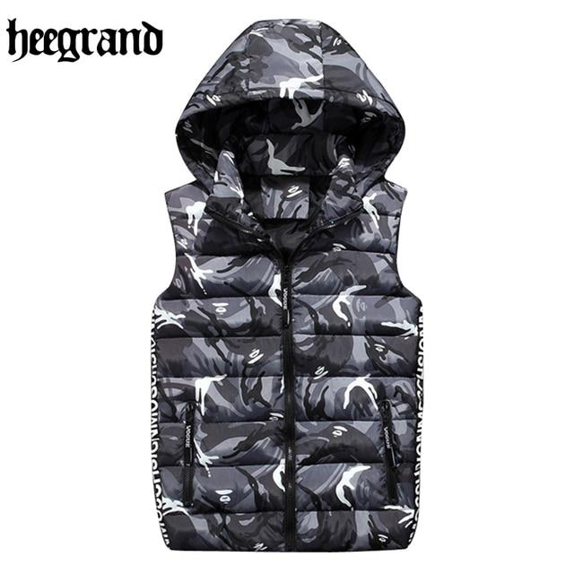 HEE GRAND Fashion New Stylish Autumn Winter Vest Men High Quality Hat Detachable Hood Warm Male Casual Vest MWB264