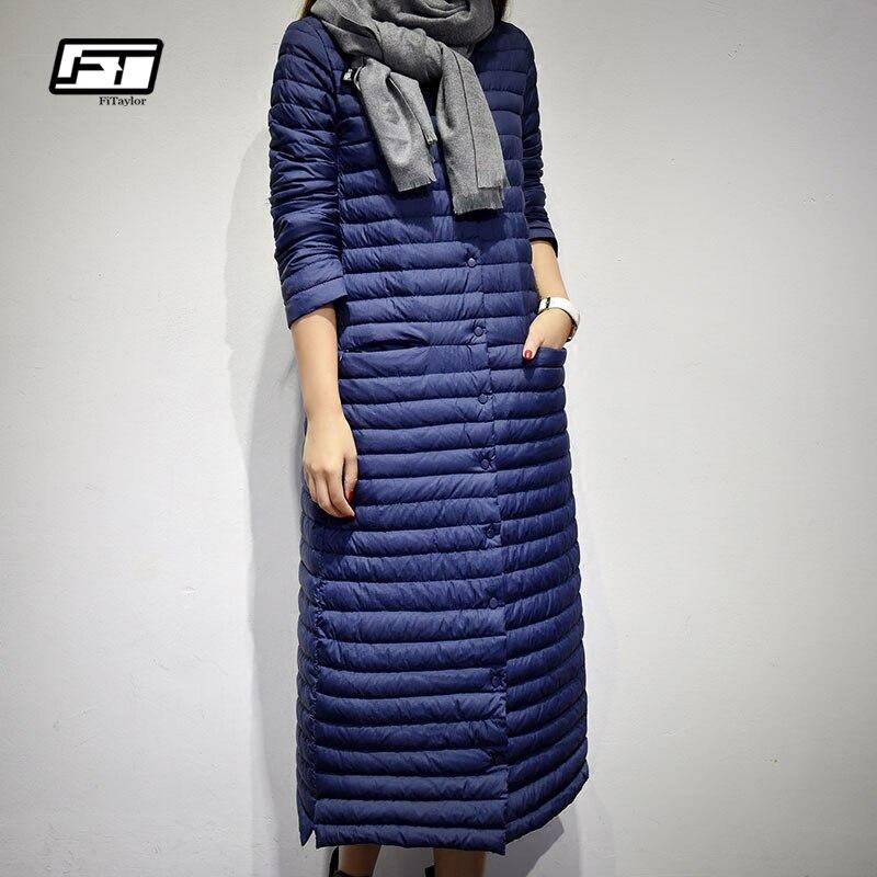 Fitaylor Long Down Jacket Women Winter Ultra Light Duck Down Jackets Women Casual Hooded Down Coat
