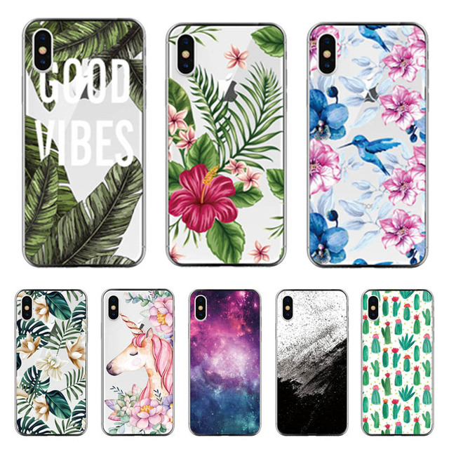 Silicone Case For iPhone 7 7Plus 6 6S 6Plus 5 5S SE Case Soft TPU Cover Flower Leaves Cactus For iPhone 6 S 8Plus X 10 Bags