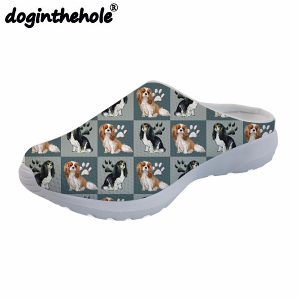 doginthehole Beach Shoes Men 2018 Mens Sport Sandals Cavalier King Dog Printing Outdoor Slippers Sport Lightweight Zapatos Mujer